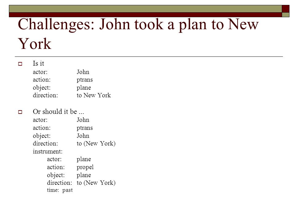 Challenges: John took a plan to New York