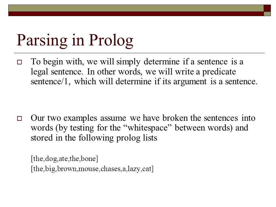 Parsing in Prolog
