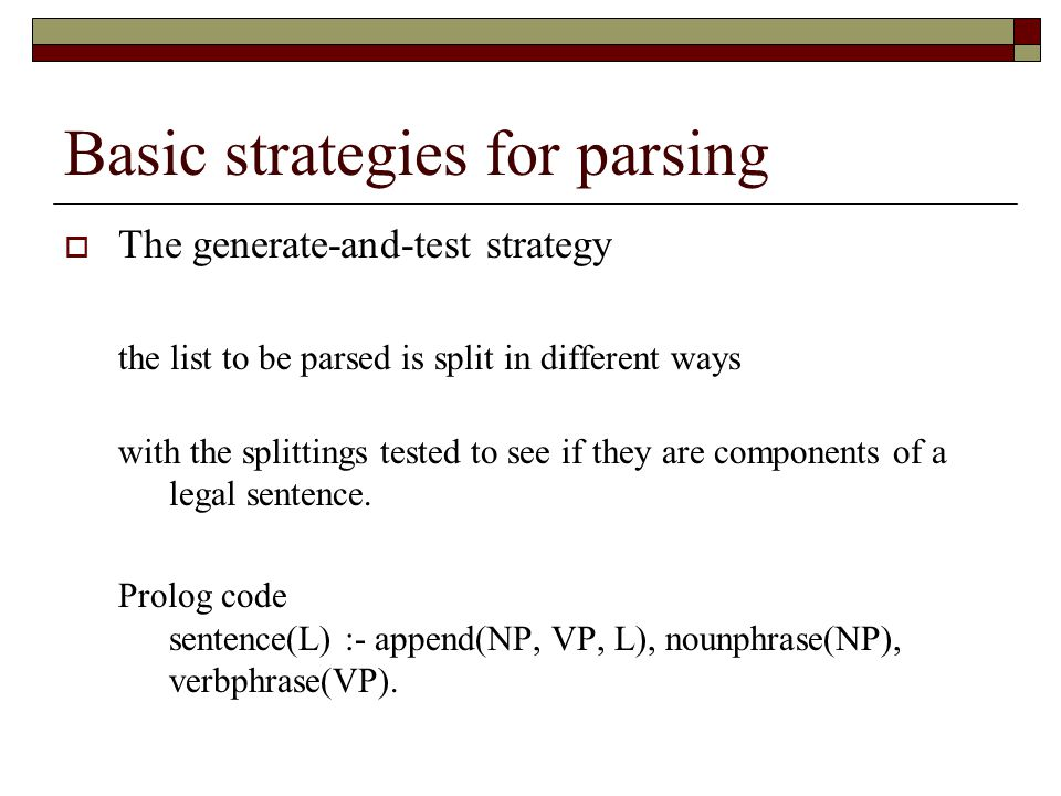 Basic strategies for parsing