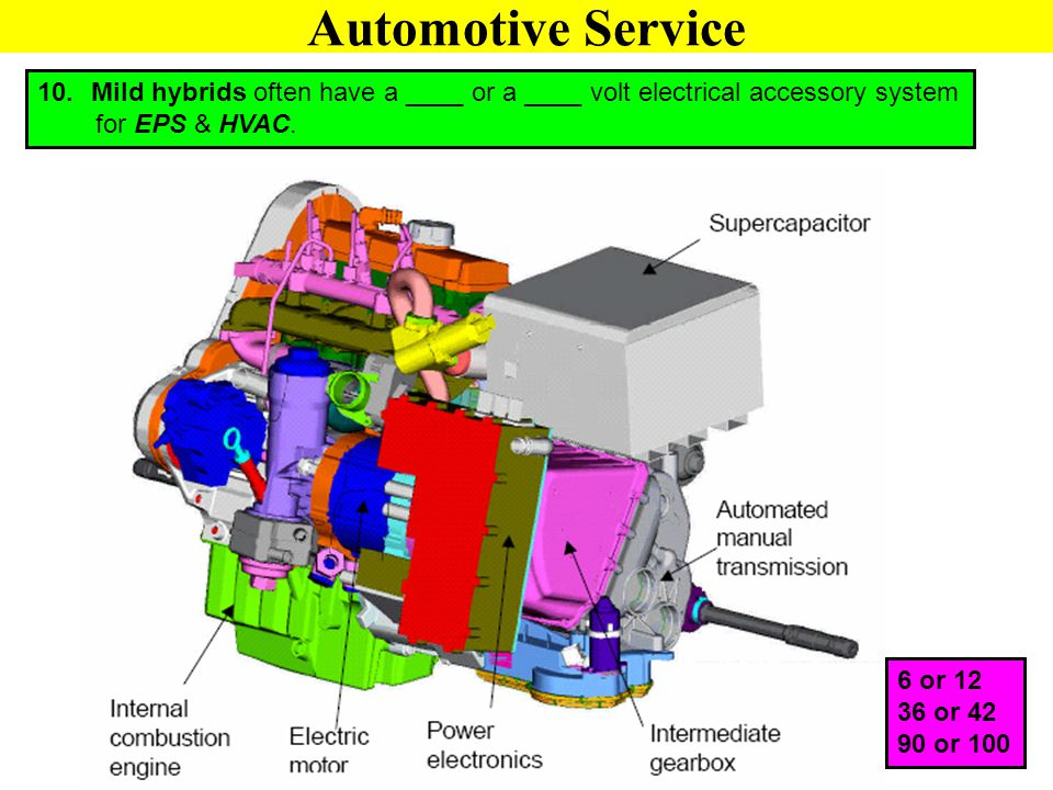Automotive Service Mild hybrids often have a ____ or a ____ volt electrical accessory system. for EPS & HVAC.