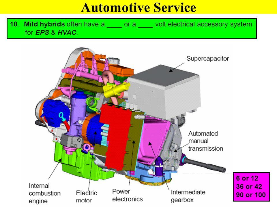 Automotive Service Mild hybrids often have a ____ or a ____ volt electrical accessory system. for EPS & HVAC.