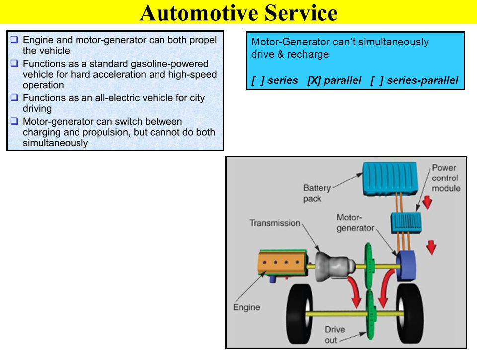 Automotive Service Motor-Generator can't simultaneously