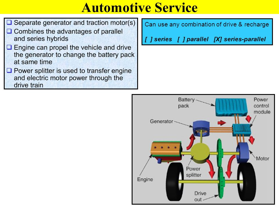 Automotive Service Can use any combination of drive & recharge