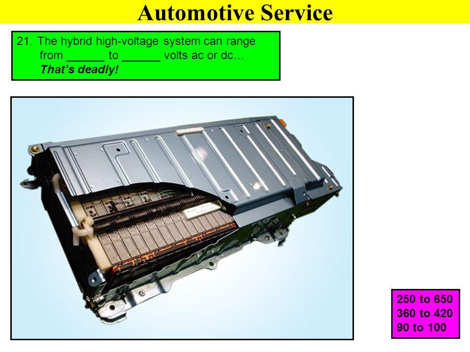 Automotive Service The hybrid high-voltage system can range