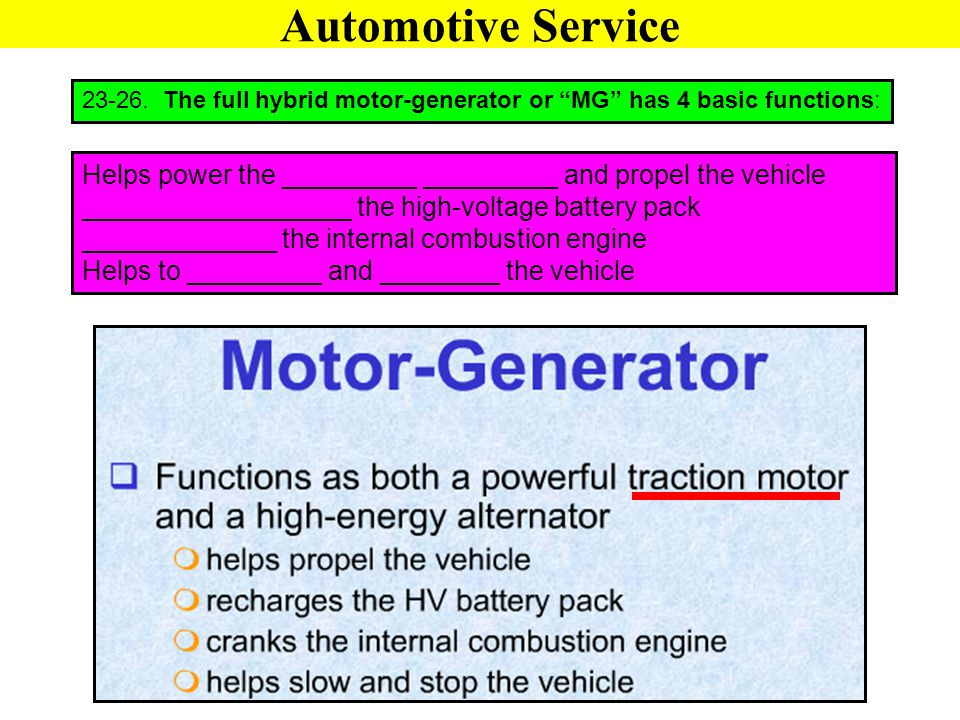 Automotive Service 23-26. The full hybrid motor-generator or MG has 4 basic functions: Helps power the _________ _________ and propel the vehicle.
