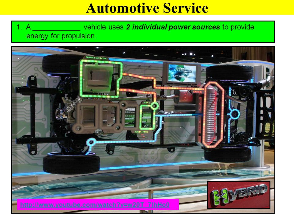Automotive Service 1. A ____________ vehicle uses 2 individual power sources to provide. energy for propulsion.