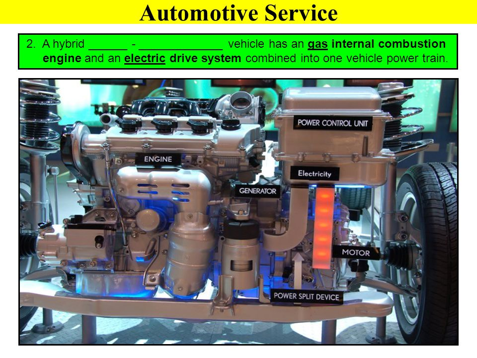 Automotive Service 2. A hybrid ______ - _____________ vehicle has an gas internal combustion.