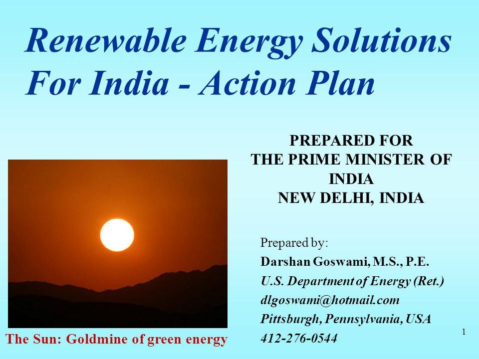 Renewable Energy Solutions For India - Action Plan