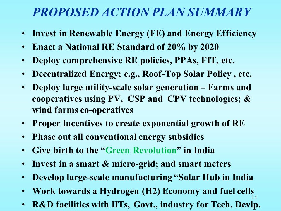 PROPOSED ACTION PLAN SUMMARY