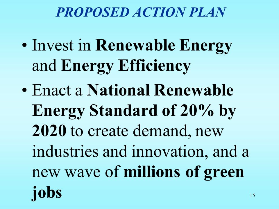 Invest in Renewable Energy and Energy Efficiency
