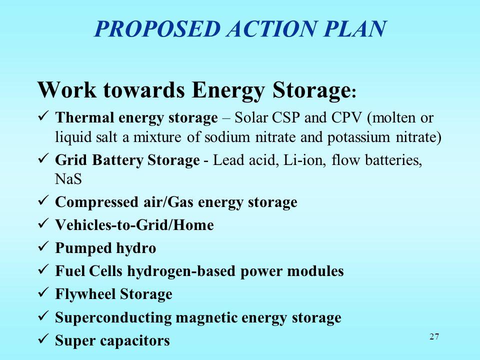 Work towards Energy Storage: