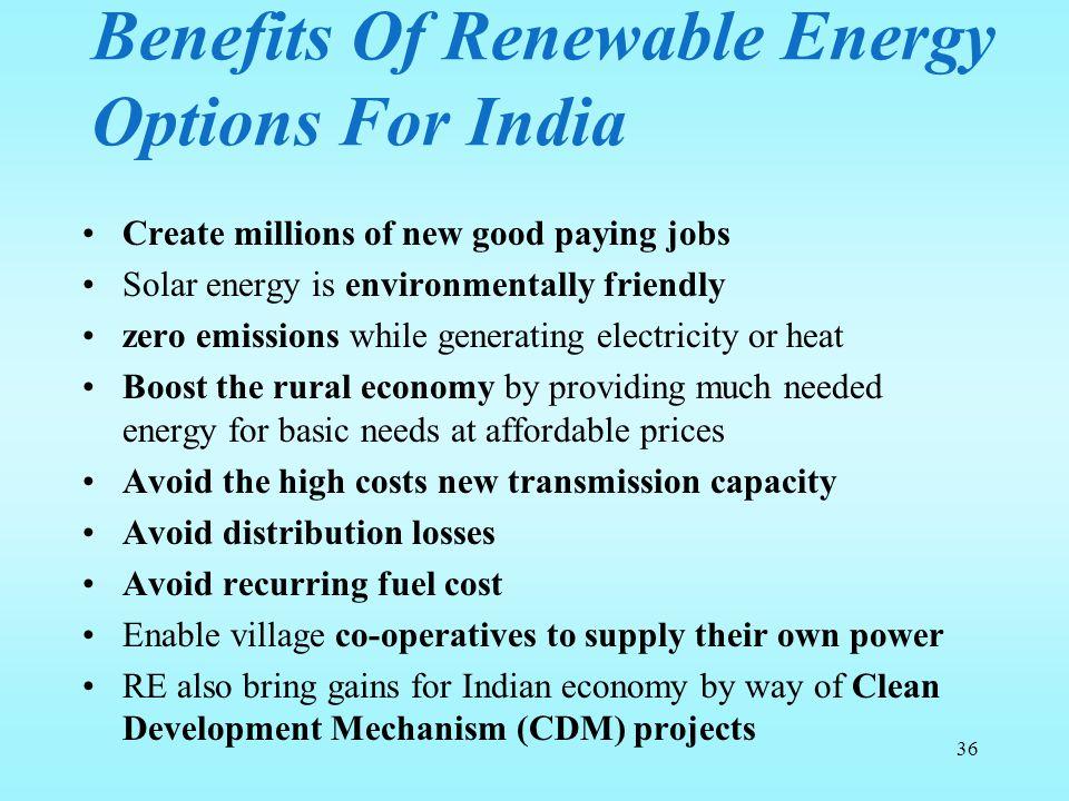 Benefits Of Renewable Energy Options For India