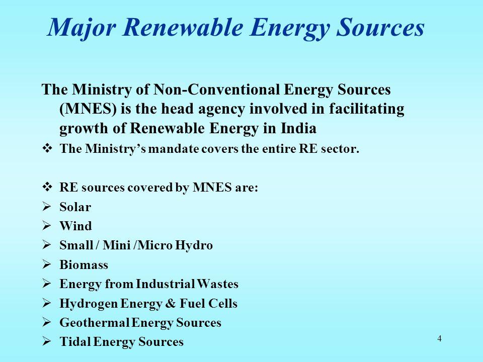Major Renewable Energy Sources