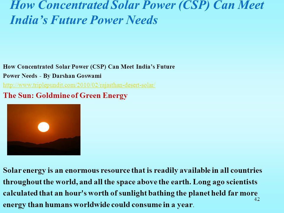 How Concentrated Solar Power (CSP) Can Meet India's Future Power Needs