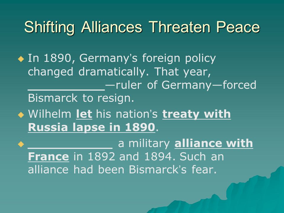 Shifting Alliances Threaten Peace