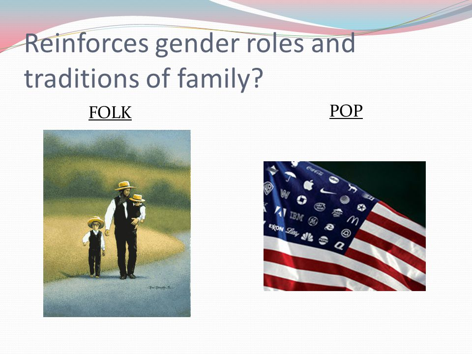 Reinforces gender roles and traditions of family