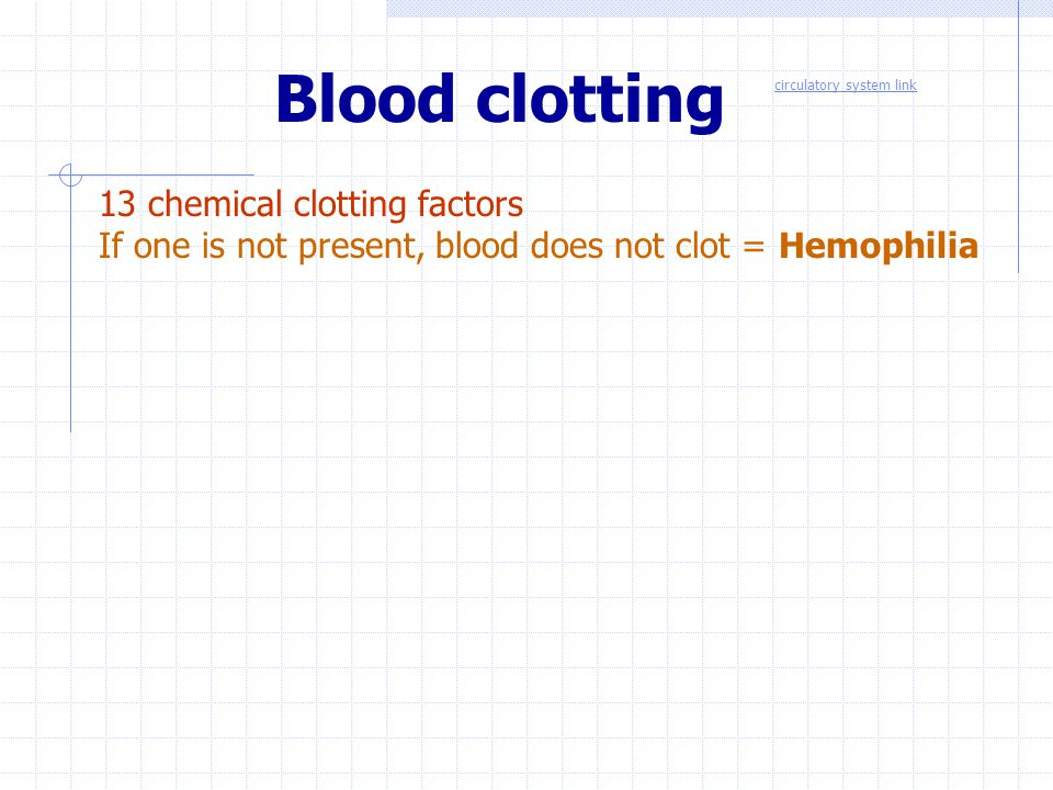 Blood clotting 13 chemical clotting factors
