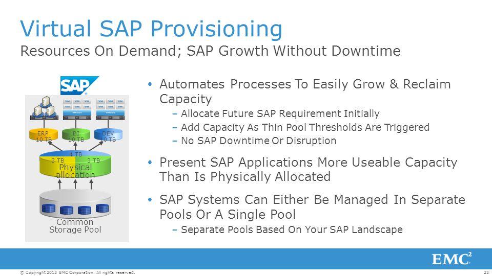 Virtual SAP Provisioning