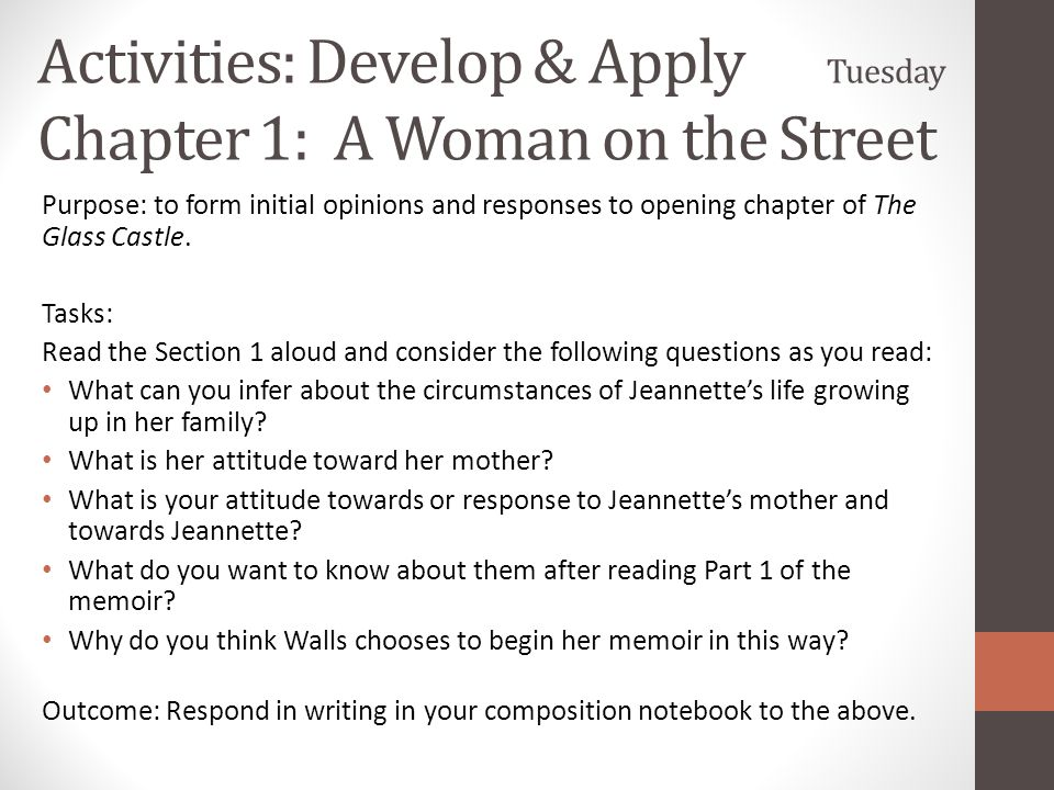 Activities: Develop & Apply Tuesday Chapter 1: A Woman on the Street