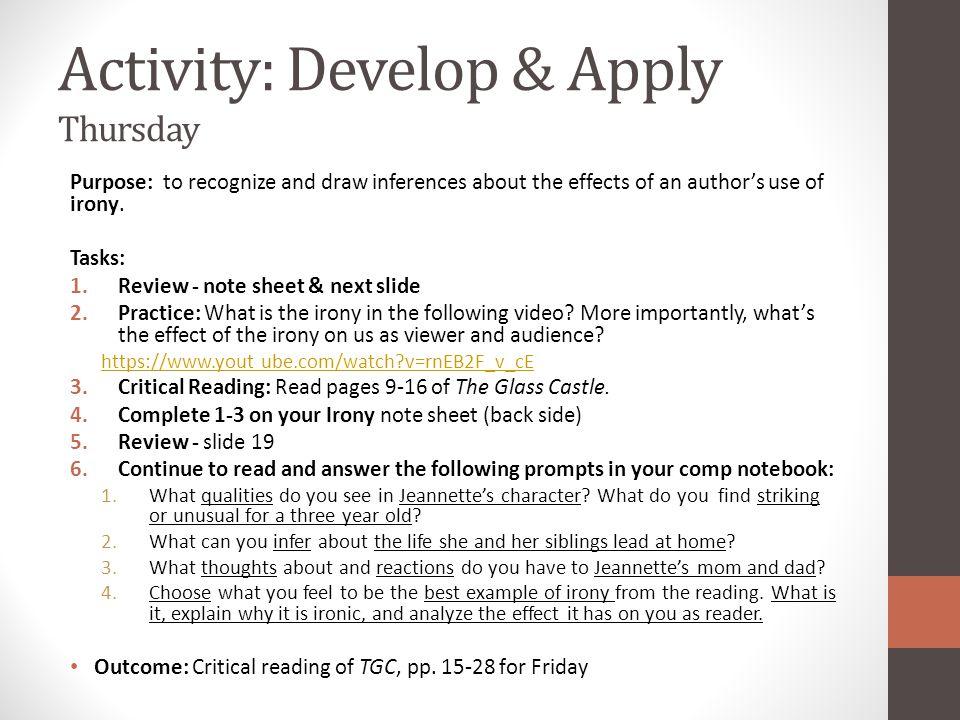 Activity: Develop & Apply Thursday