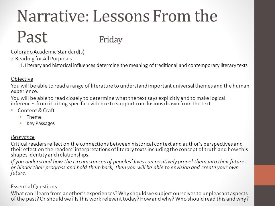 Narrative: Lessons From the Past Friday