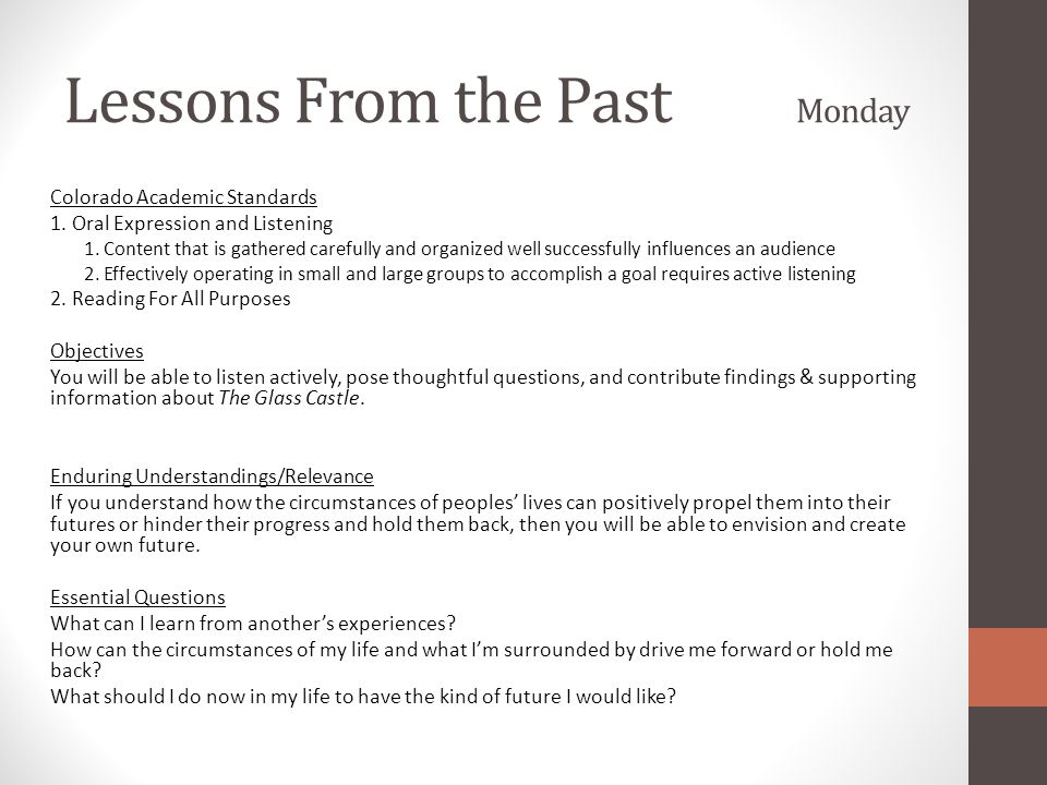 Lessons From the Past Monday