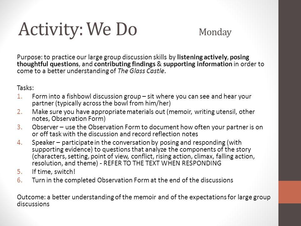 Activity: We Do Monday
