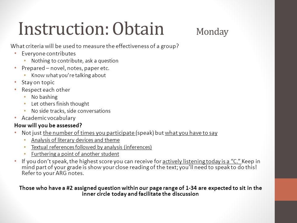 Instruction: Obtain Monday