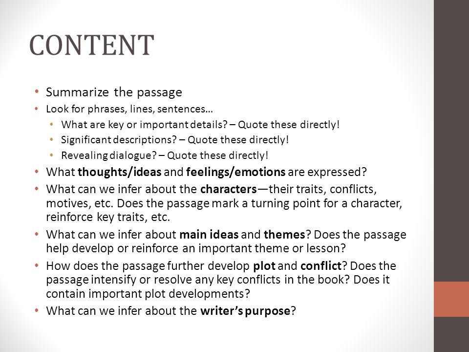 CONTENT Summarize the passage