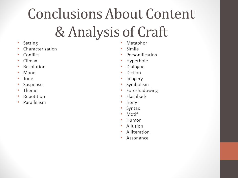Conclusions About Content & Analysis of Craft