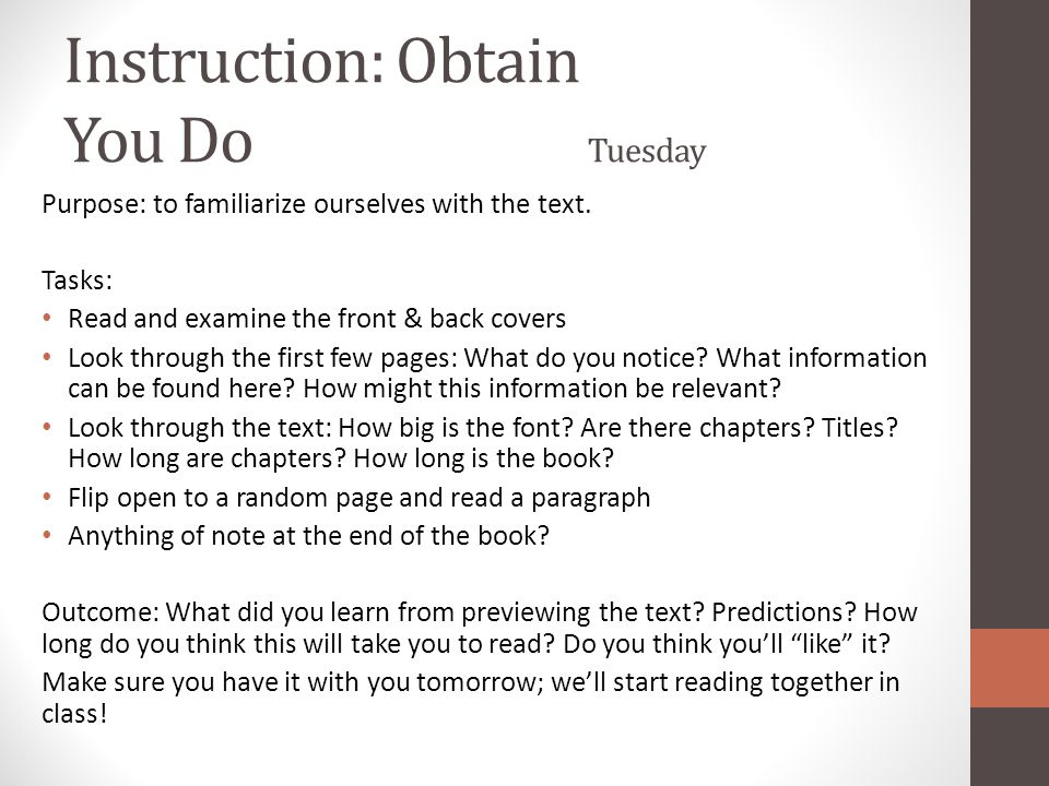 Instruction: Obtain You Do Tuesday