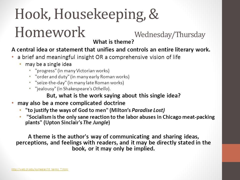 Hook, Housekeeping, & Homework Wednesday/Thursday