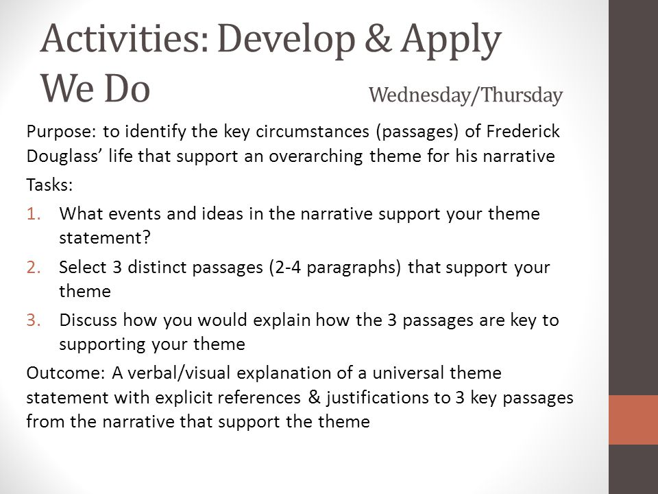 Activities: Develop & Apply We Do Wednesday/Thursday