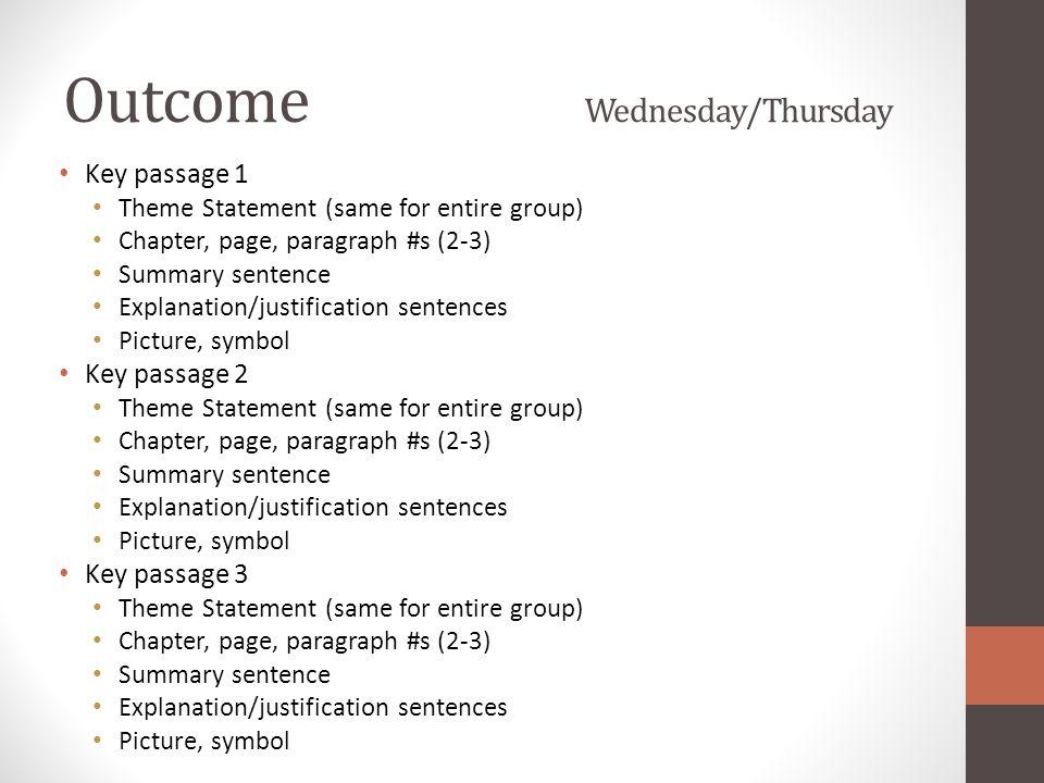 Outcome Wednesday/Thursday