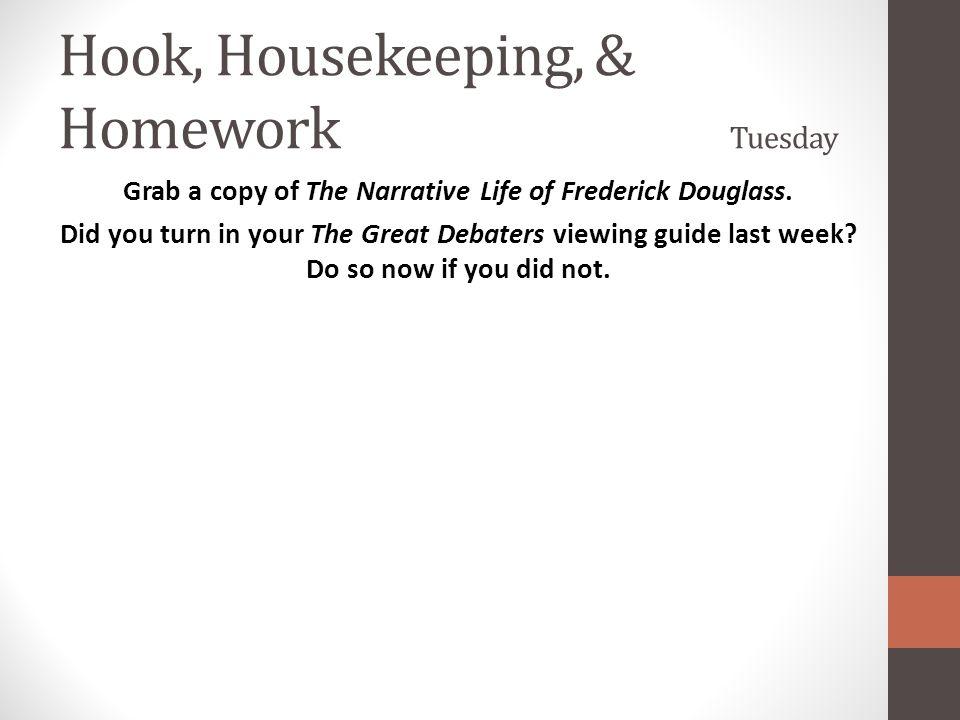 Hook, Housekeeping, & Homework Tuesday