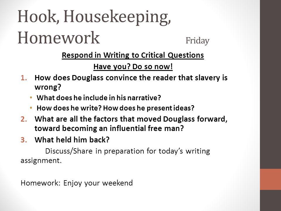 Hook, Housekeeping, Homework Friday