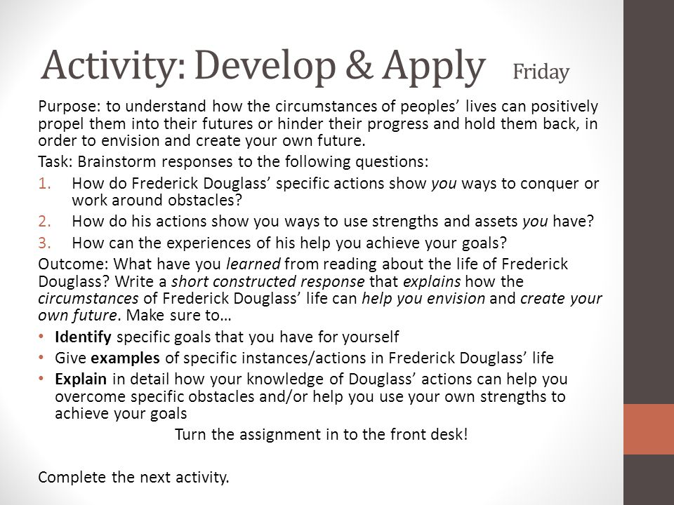 Activity: Develop & Apply Friday