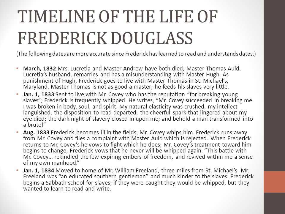 TIMELINE OF THE LIFE OF FREDERICK DOUGLASS