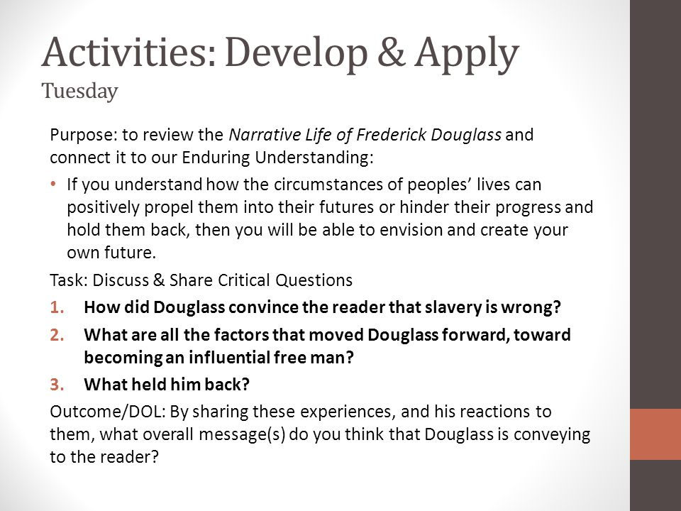 Activities: Develop & Apply Tuesday