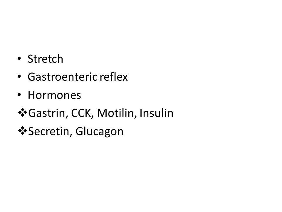 Stretch Gastroenteric reflex Hormones Gastrin, CCK, Motilin, Insulin Secretin, Glucagon