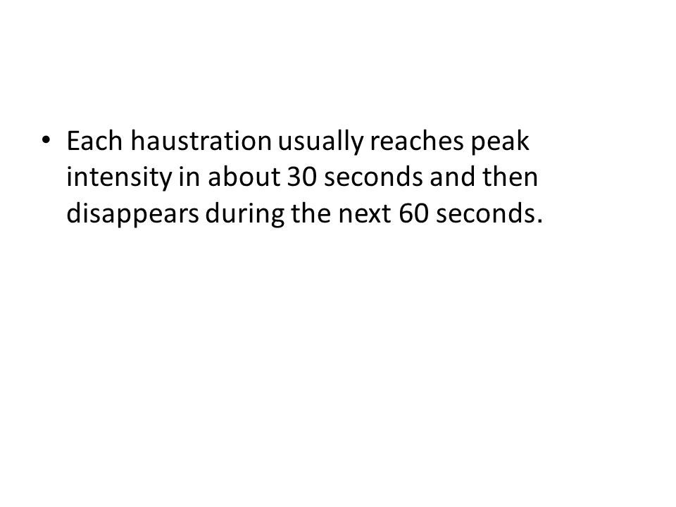 Each haustration usually reaches peak intensity in about 30 seconds and then disappears during the next 60 seconds.