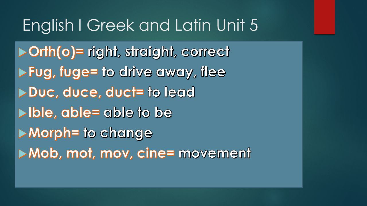 English I Greek and Latin Unit 5