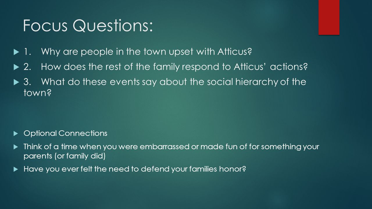 Focus Questions: 1. Why are people in the town upset with Atticus