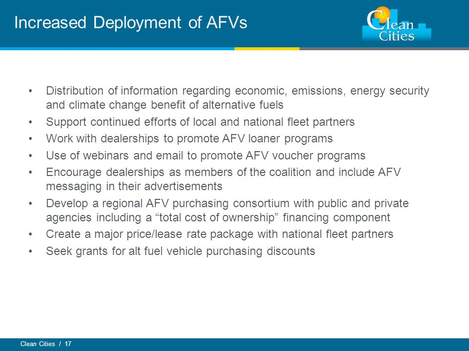 Increased Deployment of AFVs