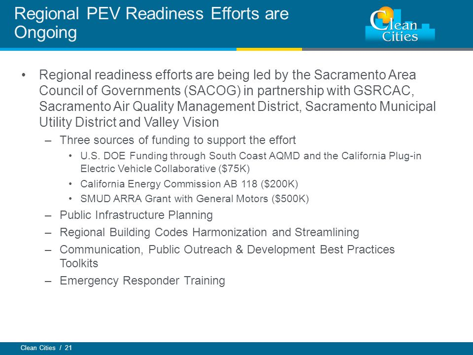 Regional PEV Readiness Efforts are Ongoing