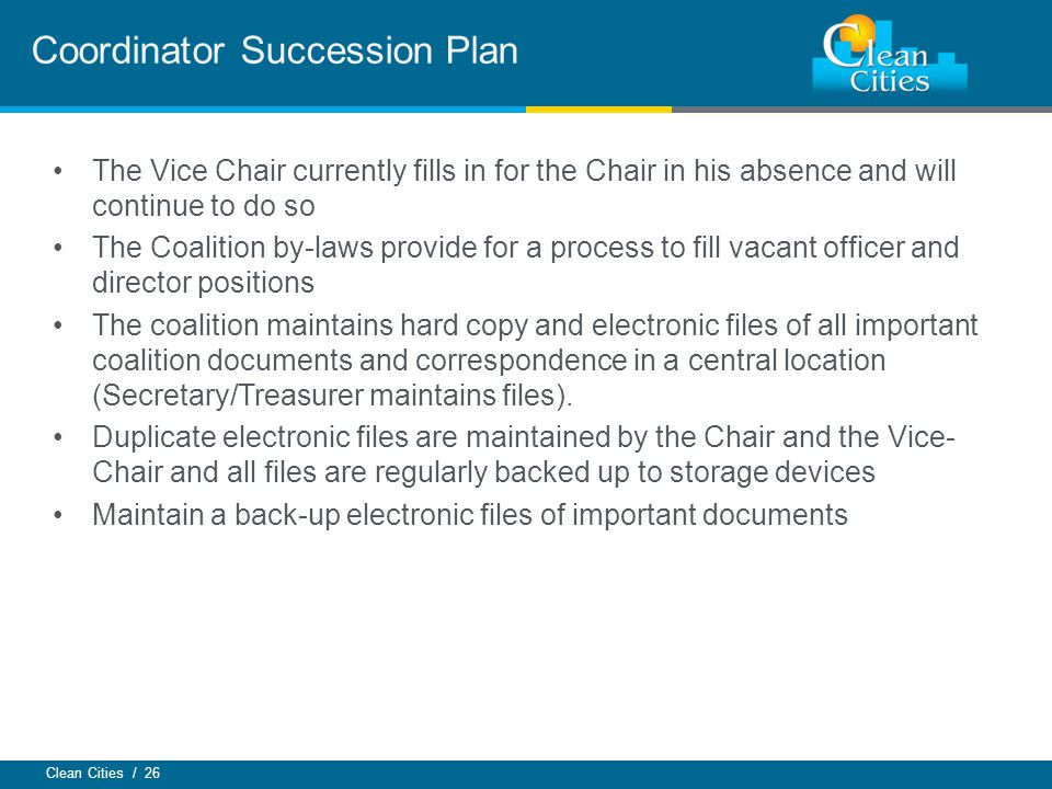 Coordinator Succession Plan