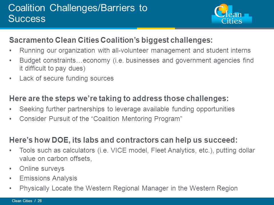 Coalition Challenges/Barriers to Success