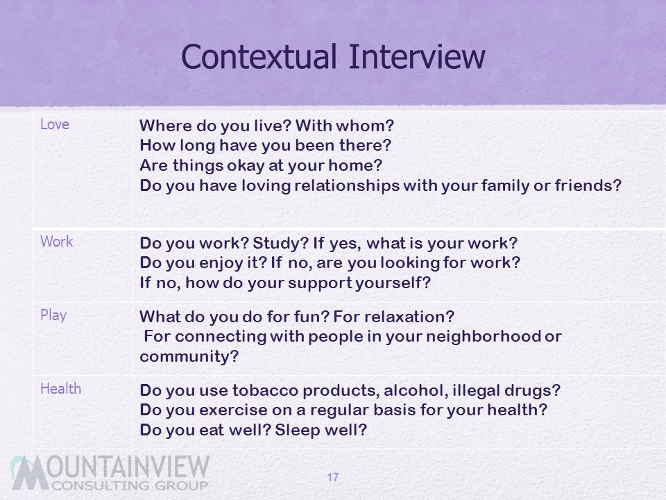 Contextual Interview Where do you live With whom