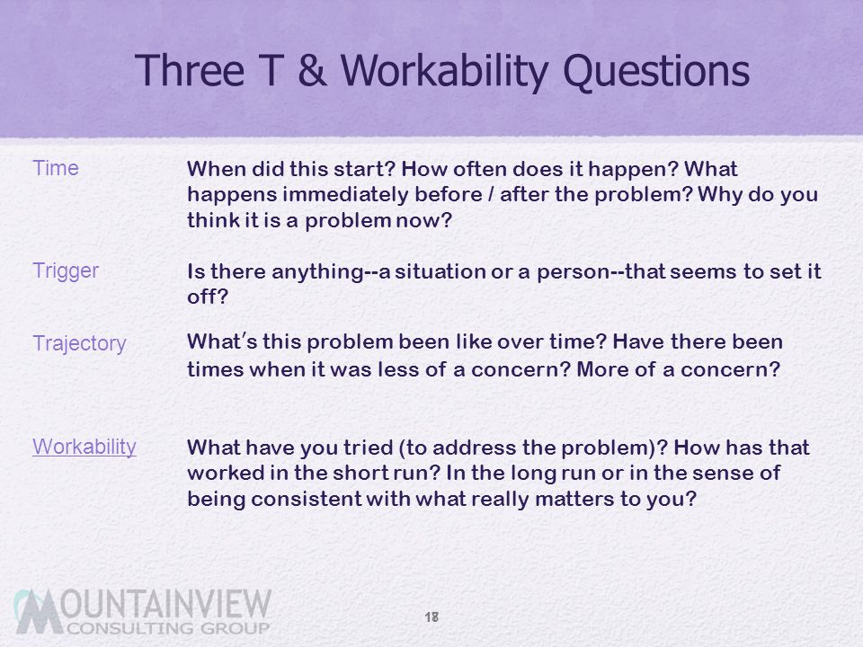 Three T & Workability Questions