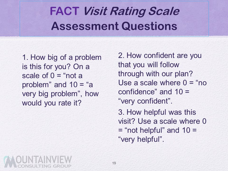 FACT Visit Rating Scale Assessment Questions